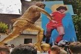 Notable gesto de veneración a Maradona